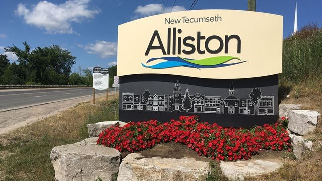 Town of Alliston welcome sign The Mortimer Team Real Estate Photo