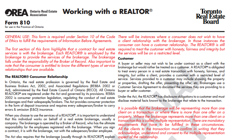 Realtor pamphlet for clients
